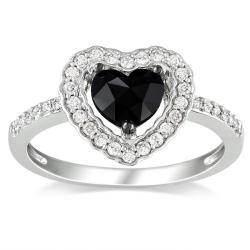 Miadora 14k White Gold 1ct TDW Black and White Diamond Heart Halo Ring (G-H, I1-I2)