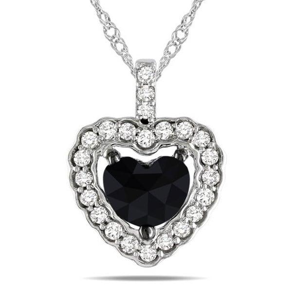 Miadora 14k White Gold 1ct TDW Black and White Diamond Heart Halo Necklace (G-H, I1-I2)