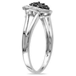 Miadora 10k White Gold 1/4ct TDW Black and White Diamond Heart Ring (G-H, I2-I3)