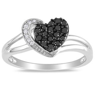 Miadora 10k White Gold 1/4ct TDW Black and White Diamond Heart Ring (G-H, I2-I3) with Bonus Earrings