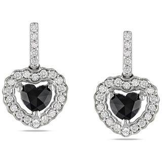 Miadora 14k White Gold 1ct TDW Black and White Diamond Earrings (G-H, I2)