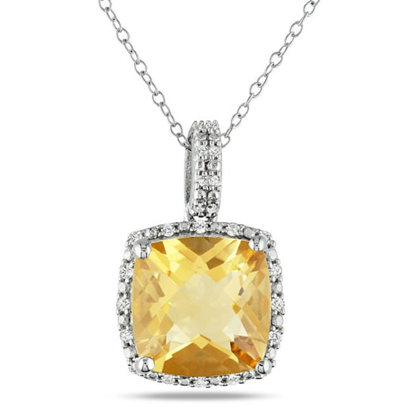 Miadora Sterling Silver Citrine and 1/10ct TDW Diamond Necklace (G-H, I3)