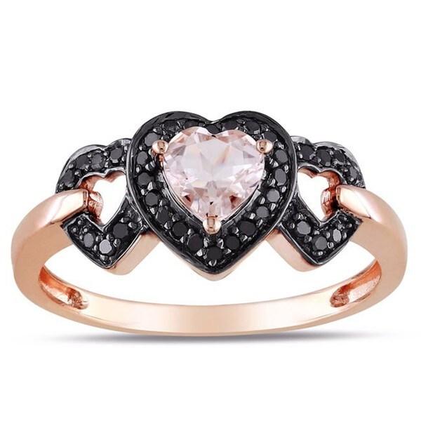 Miadora 10k Pink Gold Morganite and 1/8ct TDW Black Diamond Ring