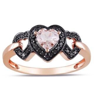 Miadora 10k Pink Gold Morganite and 1/8ct TDW Black Diamond Ring with Bonus Earrings