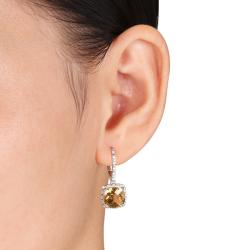 Miadora Sterling Silver Citrine and 1/5ct TDW Earrings (G-H, I3)