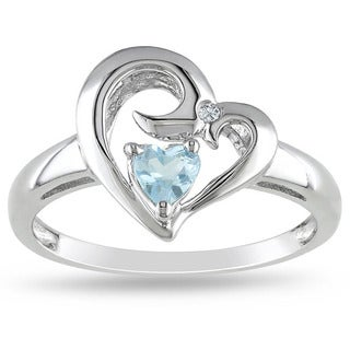 M by Miadora Sterling Silver Blue Topaz and Diamond Accent Heart Ring