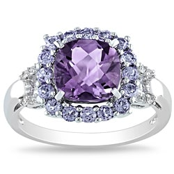 Miadora Sterling Silver Amethyst, Tanzanite and Diamond Accent Ring