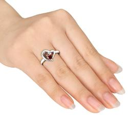 Miadora Sterling Silver Garnet and Diamond Accent Heart Ring