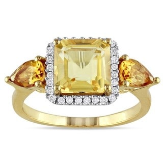 Miadora Yellow Silver Citrine and 1/6ct TDW Diamond Cocktail Ring (G-H, I2-I3)