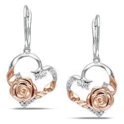 Miadora White and Pink Silver 1/6ct TDW Diamond Earrings (G-H, I2)