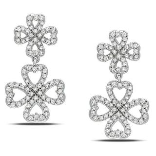 Miadora 14k White Gold 1/2ct TDW Diamond Open Clover Earrings (G-H, I1-I2)
