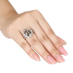 Miadora Sterling Silver Green Amethyst and 1/3ct TDW Diamond Ring (G-H, I2-I3)