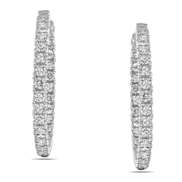 Miadora 14k White Gold 5 3/8ct TDW Diamond Hoop Earrings (G-H, SI1)