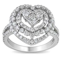 Miadora 18k White Gold 1 3/4ct TDW Diamond Heart Ring (H-I, I1-I2)