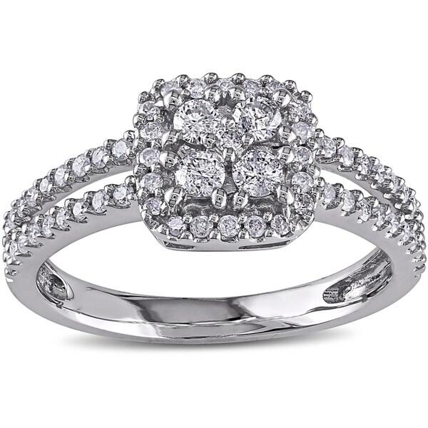 Miadora 14k White Gold 1/2ct TDW White Diamond Cluster Ring (G-H, I1-I2)