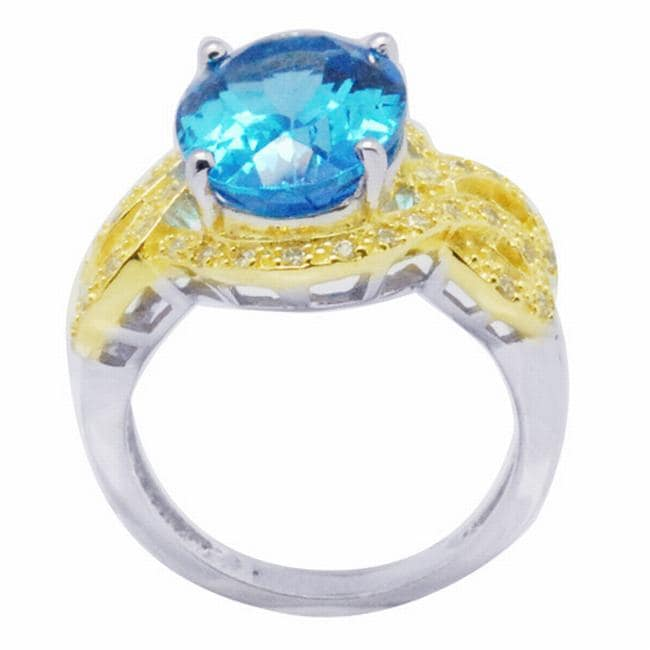 De Buman 18k Gold and Silver Blue Prong-set Topaz and White Cubic Zirconia Ring (Size 7)