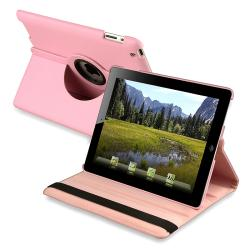 Pink 360-degree Leather Swivel Case for Apple iPad 2