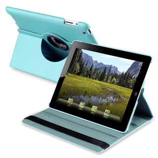 Blue 360-degree Leather Swivel Case for Apple iPad 2