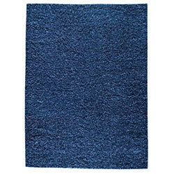 Hand-woven SMIX Blue Wool Rug (6'6 x 9'9)