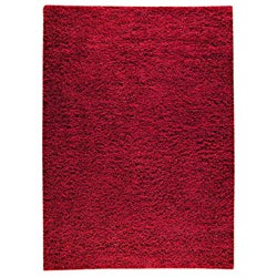 Hand-woven SMIX Red Wool Rug (4'6 x 6'6)