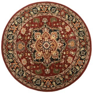 Hand-tufted Heriz Red Wool Rug (6' Round)
