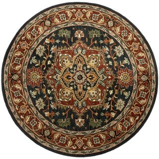 Hand-tufted Heriz Blue Wool Rug (6' Round)