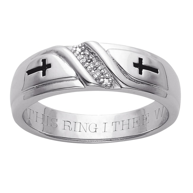 Sterling Silver Men's Diamond Accent 'WITH THIS RING I THEE WED' Band