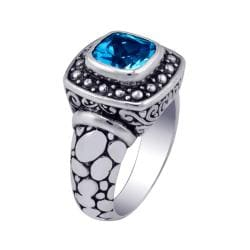 Handcrafted Sterling Silver & Blue Topaz Bali Ring (Indonesia)