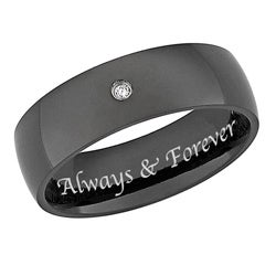 Black Titanium Men's Diamond Accent 'Always & Forever' Band