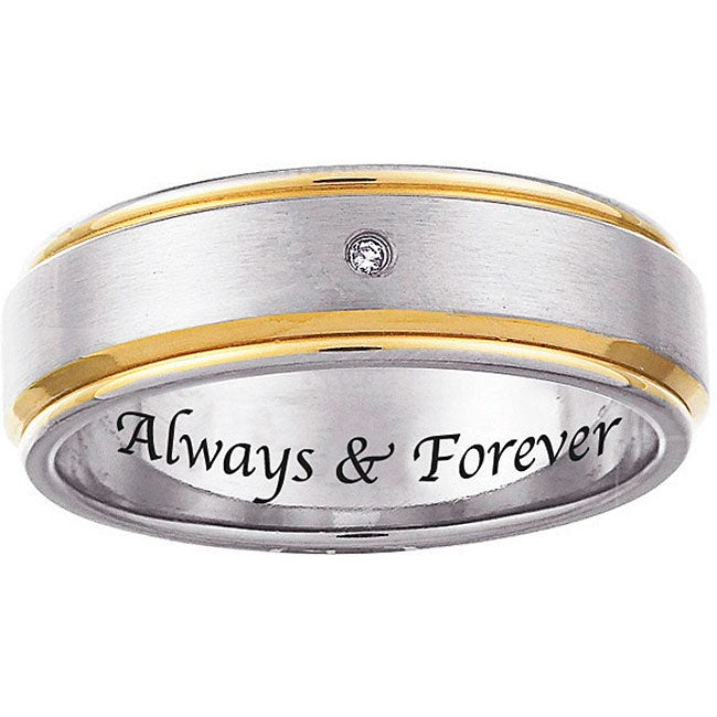 Two-tone Titanium Men's Diamond Accent 'Always & Forever' Band