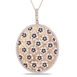 Miadora 14k Pink Gold 2 7/8ct TDW Black and White Diamond Necklace (G-H, SI1-SI2)