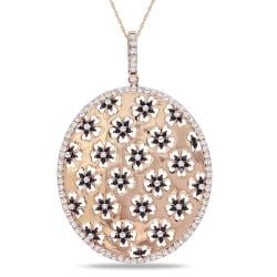 Miadora Signature Collection 14k Pink Gold 2 7/8ct TDW Black and White Diamond Necklace (G-H, SI1-SI2)