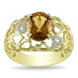 Miadora Silver Cognac Quartz and Diamond Accent Ring