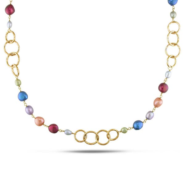 M by Miadora Goldtone Multi-colored FW Pearl Link Necklace (5-11 mm)