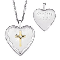 Silver Diamond Accent 'Endless Faith' Cross Engraved Locket Necklace