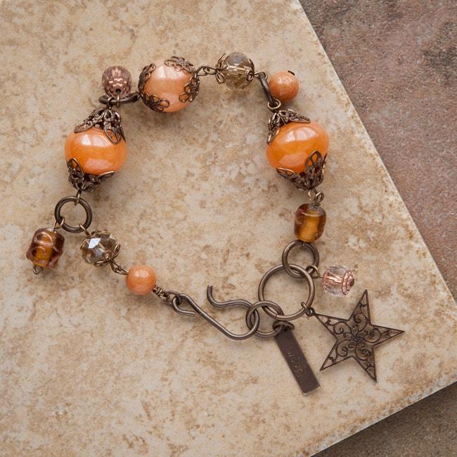 Vintage Brass 'Wish Upon a Star' Aventurine Bracelet