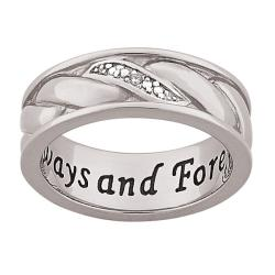 Sterling Silver Men's Diamond Accent 'Always and Forever' Band