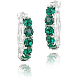 Crystal Ice Rhodium-plated Emerald Green Crystal Hoop Earrings