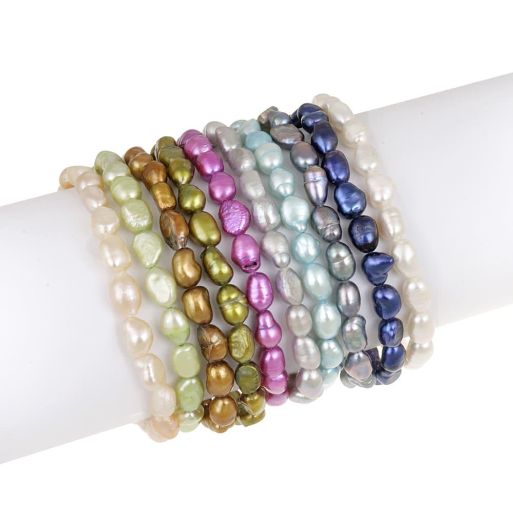 Glitzy Rocks Multi-colored FW Pearl Stretch Bracelets (Set of 10) (4.5mm /6 mm)