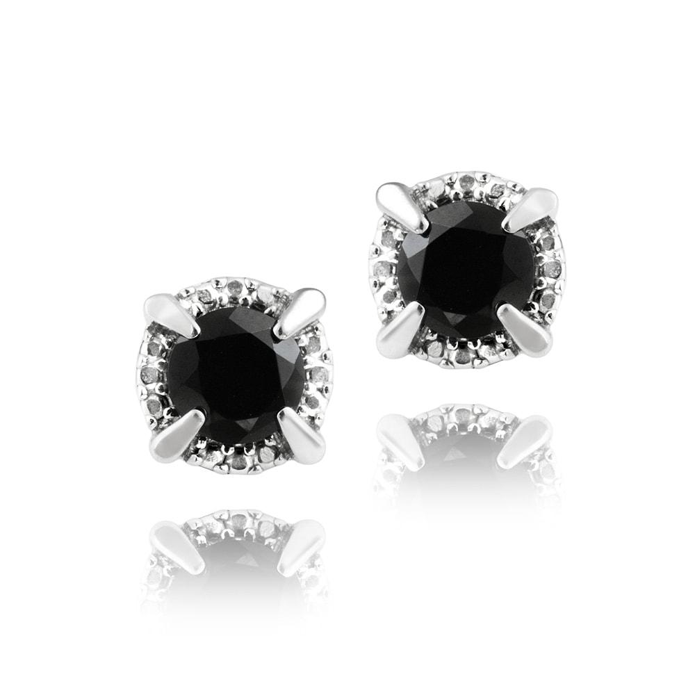 Glitzy Rocks Sterling Silver 3 1/5ct TGW Round Black Spinel Stud Earrings