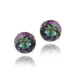 Glitzy Rocks Sterling Silver 3 1/5ct TGW 7-mm Green Mystic Topaz Stud Earrings