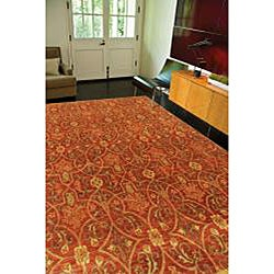 Orosius Hand-tufted Red Wool Rug (3'6 x 5'6)