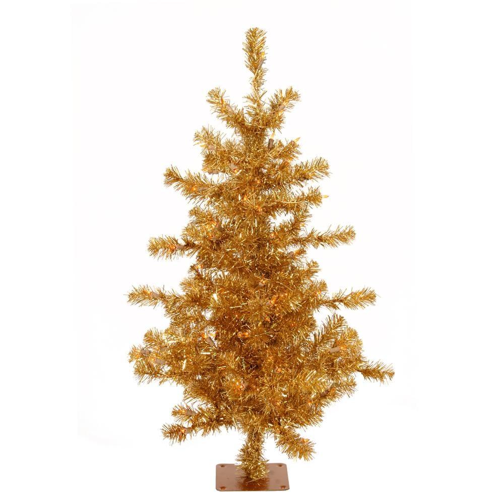 Slim 4.5-foot Gold Tinsel Holiday Tree