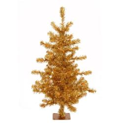 Slim 4.5-foot Gold Tinsel Holiday Tree