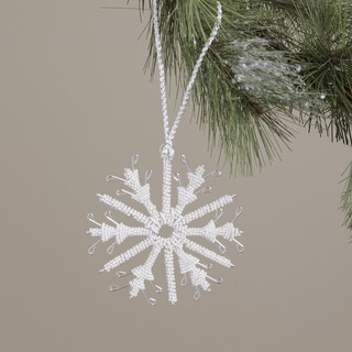 Hand-crafted Brass Acrylic Bead Holiday Snowflake Ornament (India)