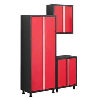 NewAge Products Bold Series Red 3-Piece Cabinetry Set with Base