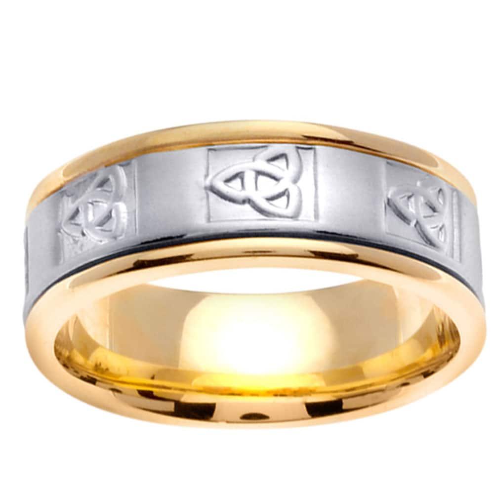 14k Two-tone Gold Men's Celtic Knot Design Wedding Band