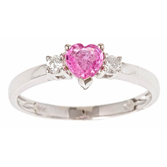 Anika and August 14k Gold Ceylon Pink Sapphire and 1/10ct TDW Diamond Ring (G-H, I1-I2)