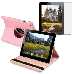 Pink Swivel Leather Case/ Anti-glare Screen Protector for Apple iPad 2