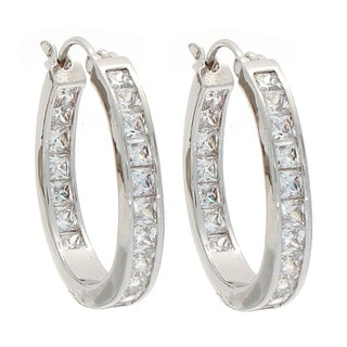 NEXTE Jewelry Silvertone Cubic Zirconia Hoop Earrings